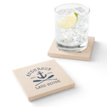 Nautical Lake House Blue Anchor Oars Sandstone Stone Coaster