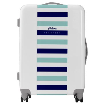 Beach Themed nautical large blue (2 tones) stripes with name luggage