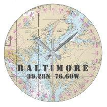 Nautical Latitude Longitude Baltimore MD  24-Hour Large Clock