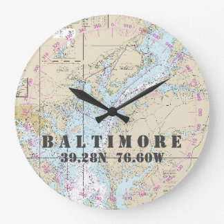 Nautical Latitude Longitude Baltimore MD  24-Hour Large Clock