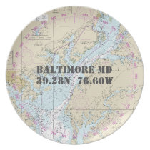 Nautical Latitude Longitude Baltimore MD Boat Dinner Plate