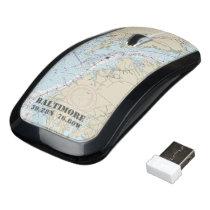 Nautical Latitude Longitude Boater's Baltimore MD Wireless Mouse