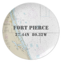 Nautical Latitude Longitude Fort Pierce, FL Boat Dinner Plate