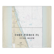 Nautical Latitude Longitude: Fort Pierce FL KING Duvet Cover