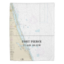 Nautical Latitude Longitude: Fort Pierce FL TWIN Duvet Cover