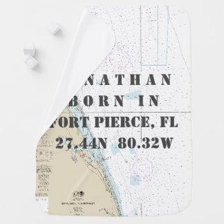 Nautical Latitude Longitude: Fort Pierce, Florida Swaddle Blanket