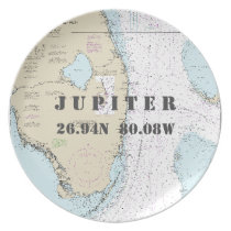 Nautical Latitude Longitude Jupiter, FL Boat Dinner Plate
