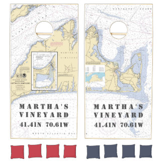 Nautical Latitude Longitude: Martha's Vineyard Cornhole Set