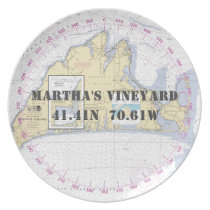 Nautical Latitude Longitude Martha's Vineyard Dinner Plate