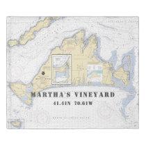 Nautical Latitude Longitude Martha's Vineyard KING Duvet Cover