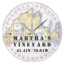 Nautical Latitude Longitude Martha's Vineyard Large Clock