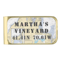 Nautical Latitude Longitude: Martha's Vineyard, MA Gold Finish Money Clip