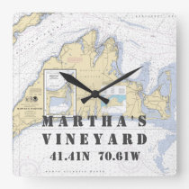 Nautical Latitude Longitude: Martha's Vineyard, MA Square Wall Clock
