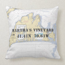 Nautical Latitude Longitude Martha's Vineyard Throw Pillow