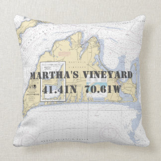 Nautical Latitude Longitude Martha's Vineyard Throw Pillow