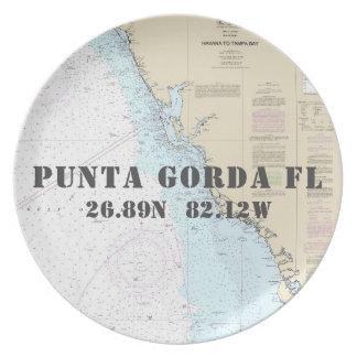 Nautical Latitude Longitude Punta Gorda FL Boat Melamine Plate