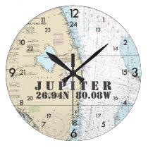 Nautical Latitude Longitude South Florida 24-Hour Large Clock