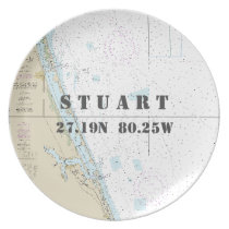 Nautical Latitude Longitude Stuart, FL Boat Dinner Plate