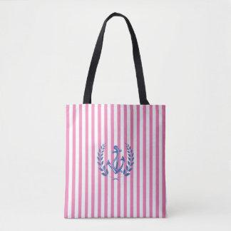 Nautical, Laurel Wreath, Pink Stripes, Cool Tote Bag