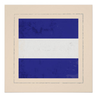 nautical letter j signal flag poster