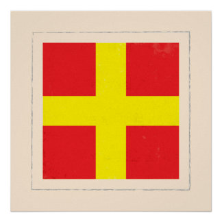 """Nautical Letter """"R"""" Signal Flag Poster"""