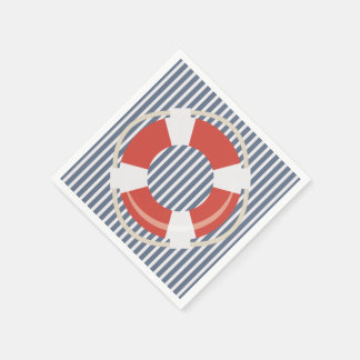 Nautical Life Buoy Contrast Pattern Paper Napkin Standard Cocktail Napkin
