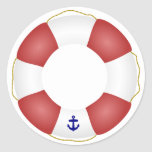 Nautical Life Preserver Classic Round Sticker at Zazzle