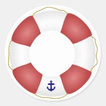 Nautical Life preserver Classic Round Sticker