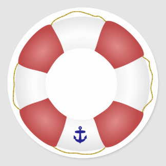Nautical Life preserver Classic Round Sticker