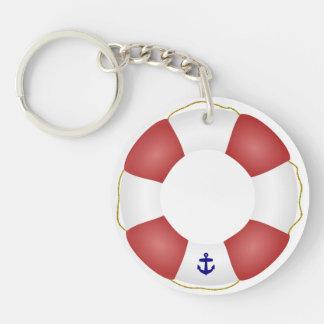 Nautical Life preserver Double-Sided Round Acrylic Keychain