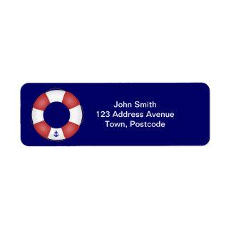 Nautical Life preserver Return Address Label