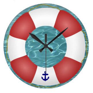Nautical Life preserver Large Clock