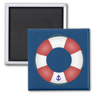 Nautical Life preserver 2 Inch Square Magnet