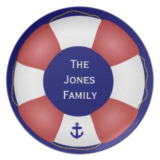 Nautical Life preserver Melamine Plate