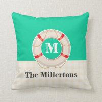 Nautical Life Preserver Monogrammed Throw Pillow