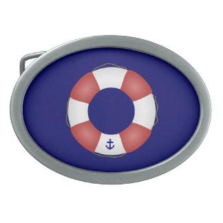 Nautical Life preserver Oval Belt Buckle