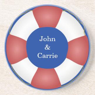 Nautical Life preserver Sandstone Coaster
