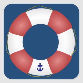 Nautical Life preserver Square Sticker