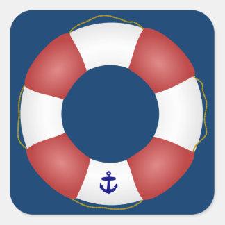 Nautical Life preserver Square Sticker