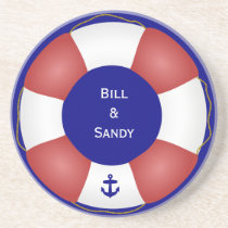 Nautical Life preserver with anchor Drink Coaster