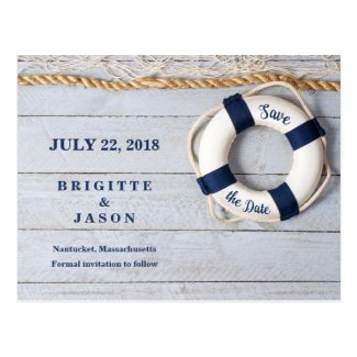 Nautical Life Saver Date the Date Card