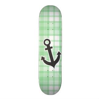 Nautical Light Green Plaid Skateboard Deck