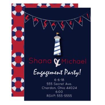 muddymomdesigns Nautical Light House Engagement Party Invitation