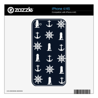 Nautical Lighthouse, Anchor and Ship Wheel Design iPhone 4 Decals
