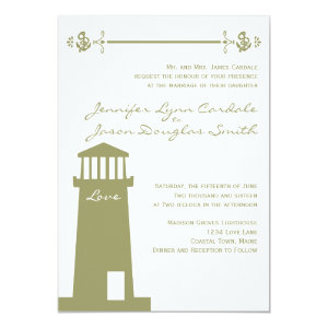 Nautical Lighthouse Anchor Sage Wedding Invitation 5