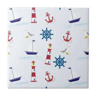 Nautical Lighthouse Background Ceramic Tile