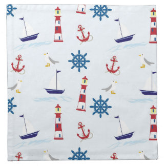 Nautical Lighthouse Background Cloth Napkin