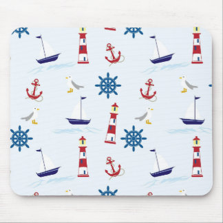 Nautical Lighthouse Background Mouse Pad