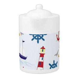 Nautical Lighthouse Background Teapot