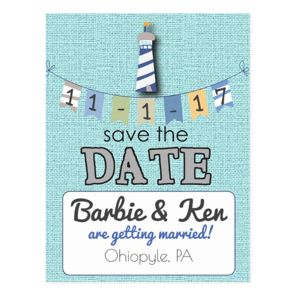 Nautical Lighthouse Beach Save the Date card! Postcard